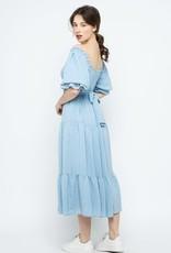 angel smocked midi dress
