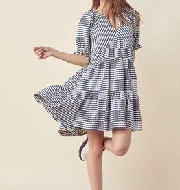 gingham plaid tiered mini dress