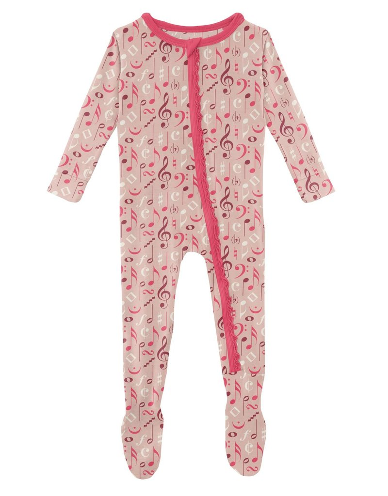 kickee pants peach blossom music class muffin ruffle footie with zipper