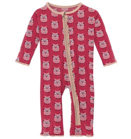 kickee pants taffy wise owls muffin ruffle coverall with zipper