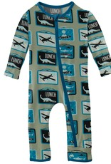 kickee pants silver sage lunchboxes coverall with zipper