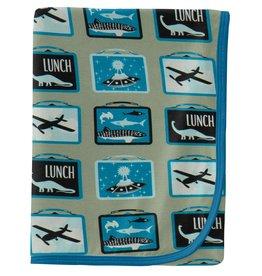 kickee pants silver sage lunchboxes swaddling blanket