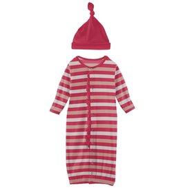 kickee pants hopscotch stripe ruffle gown converter & knot hat set
