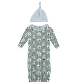kickee pants silver sage wise owls gown converter & knot hat set