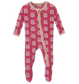 kickee pants taffy wise owls muffin ruffle footie with zipper
