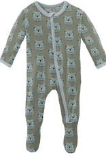 kickee pants silver sage wise owls footie with zipper