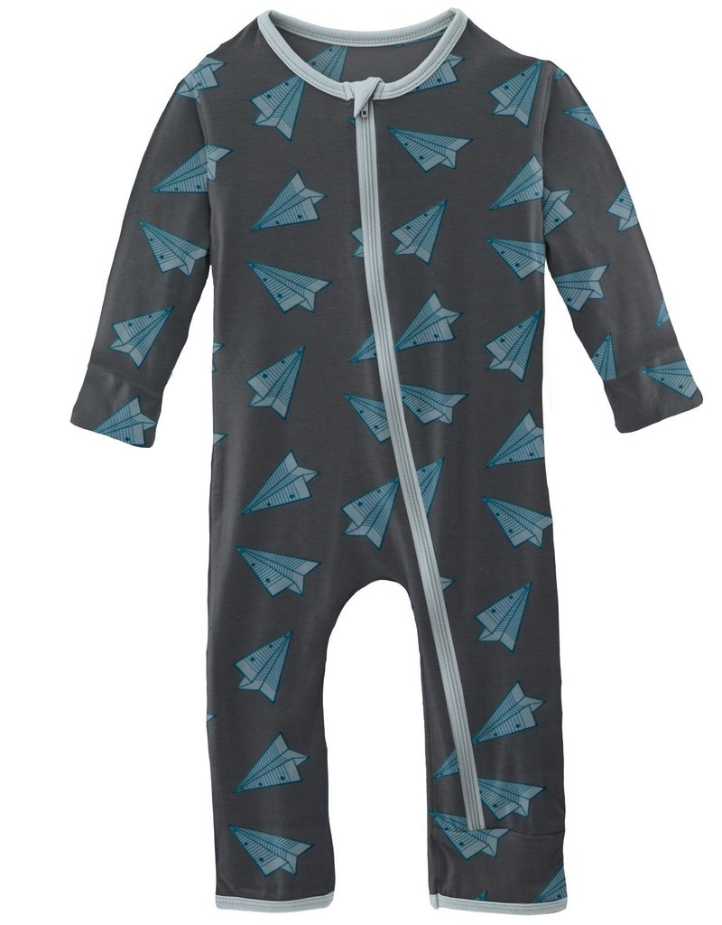 kickee pants paper airplanes coverall with zipper
