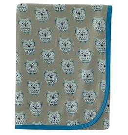 kickee pants silver sage wise owls swaddling blanket