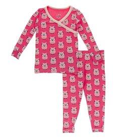 kickee pants taffy wise owls kimono long sleeve pajama set