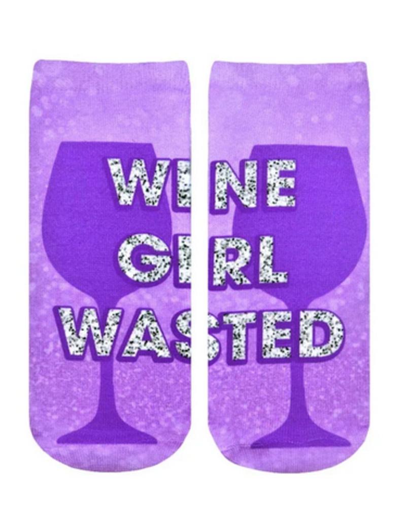 wine girl wasted ankle socks