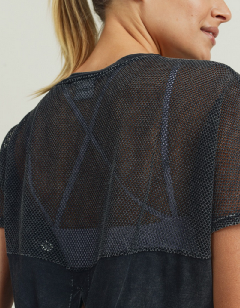 mesh back tie crop top