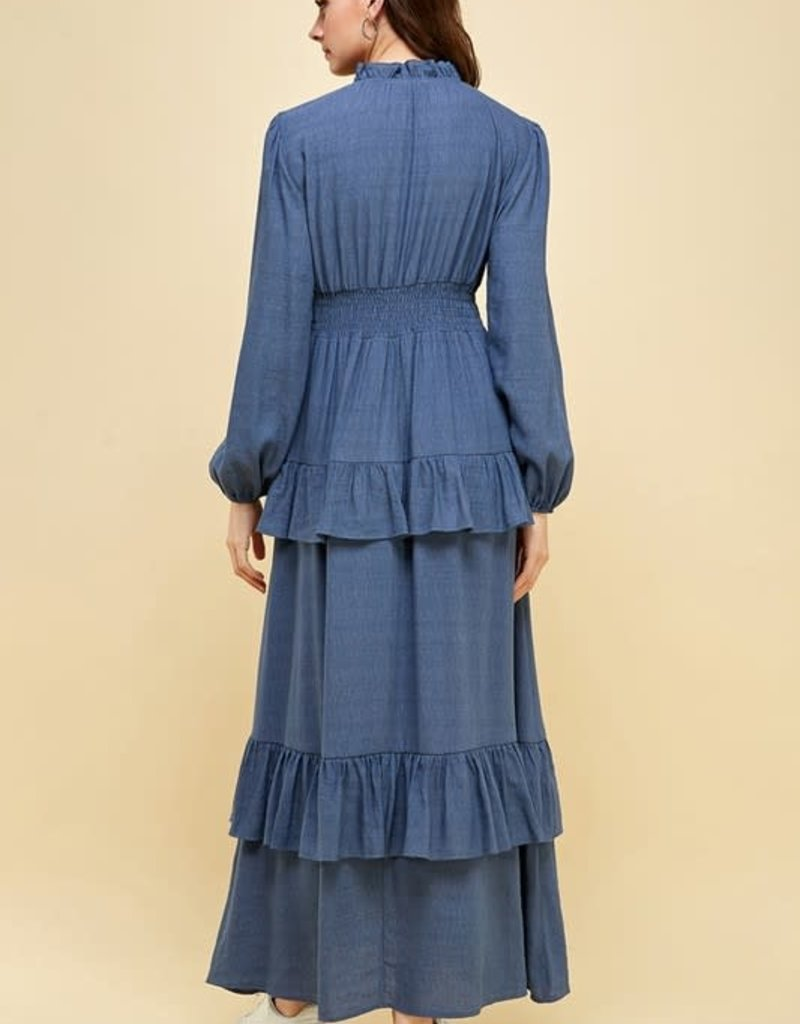 pinch v neck tiered long sleeve maxi dress