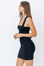 ribbed knit cross back dress