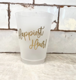 hapbee paperie happiest hour gold frosted shatterproof cups (set of 10)