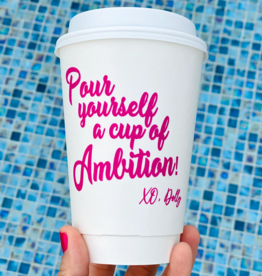 hapbee paperie pour yourself a cup of ambition coffee cups (set of 10)