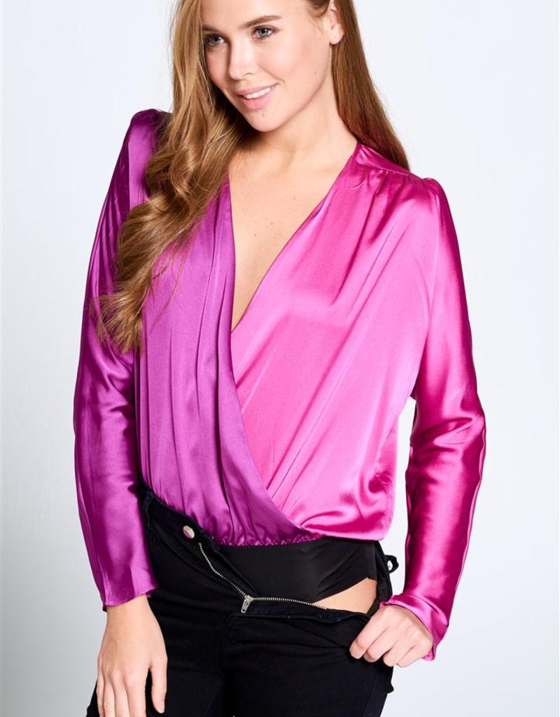 silky two tone long sleeve bodysuit