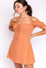 smocked off shoulder mini dress