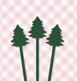 Pep & Pop christmas trees drink stirrer set of 6 - pink