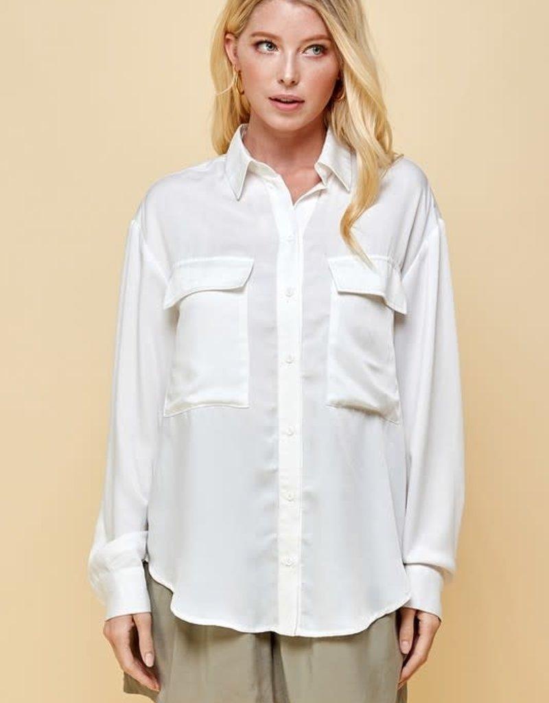 pinch silky pocket long sleeve top
