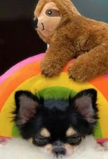 Fringe Studio sloth on a rainbow dog toy