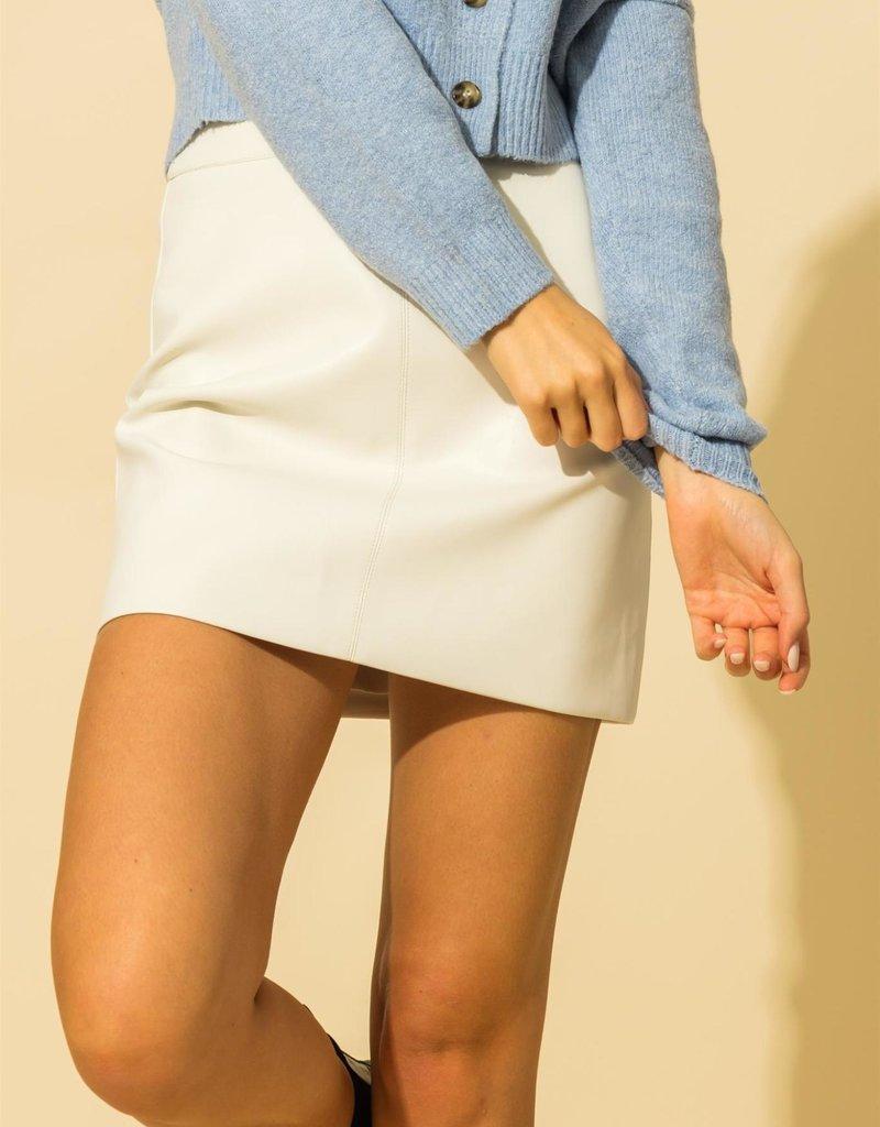 whipped cream vegan leather skirt