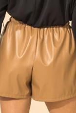 leather tie waist short