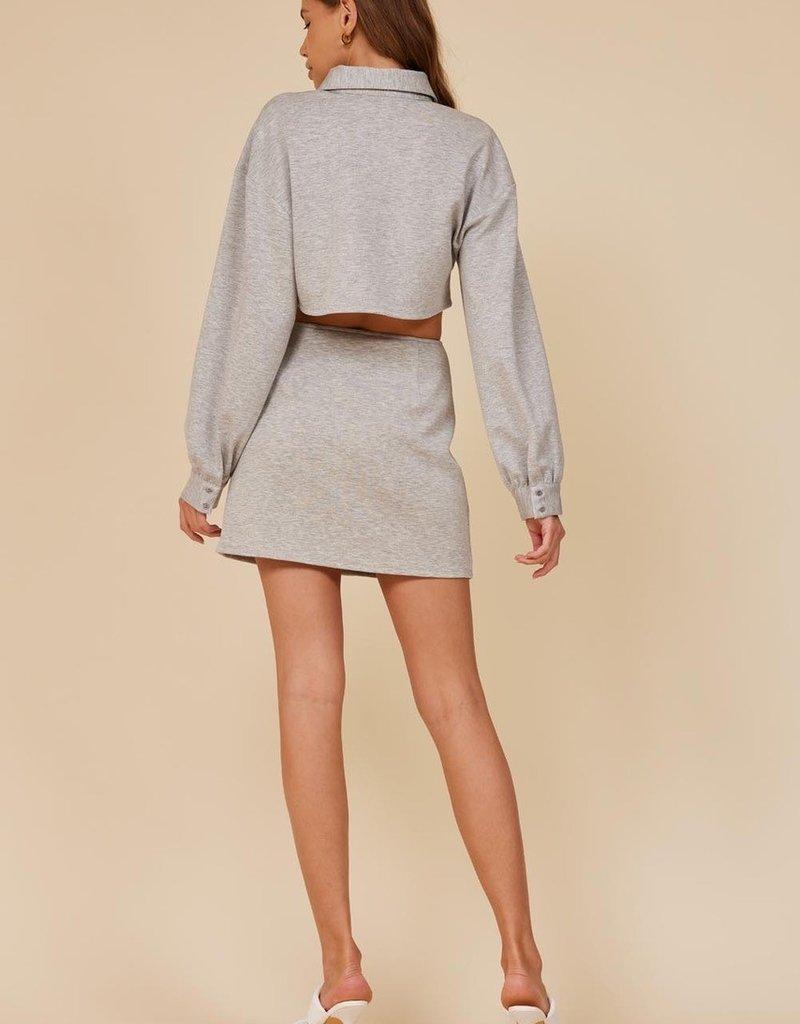 cecilia fleece button skirt