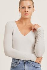 long sleeve scoop neck ribbed bodysuit