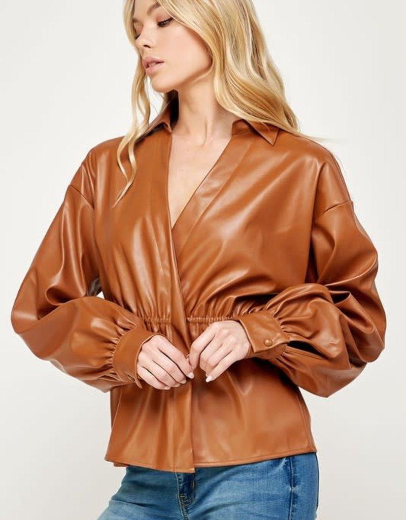 double overlap leather shirt