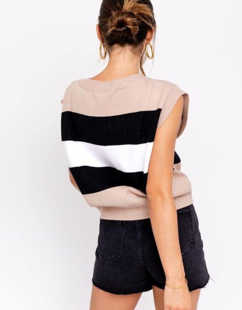 colorblock oversized sweater vest