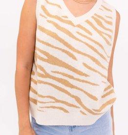zebra sweater vest