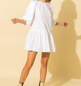 puff sleeve tiered pleated dress