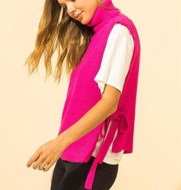 turtle neck side tie sweater vest
