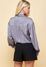 pinch pocketed long sleeve silky top