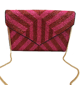 striped beaded clutch - pink