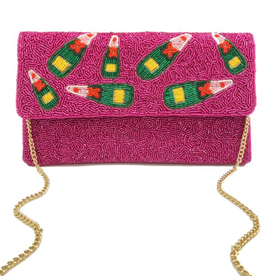 champagne beaded clutch - pink