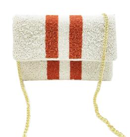 orange & white mini beaded clutch