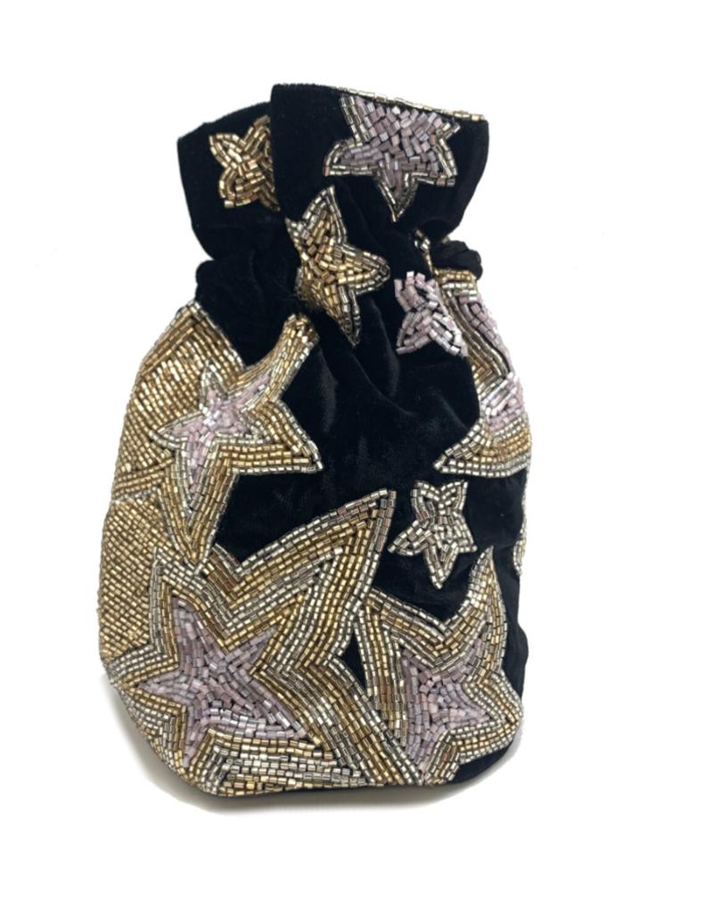 stars velvet beaded bucket bag
