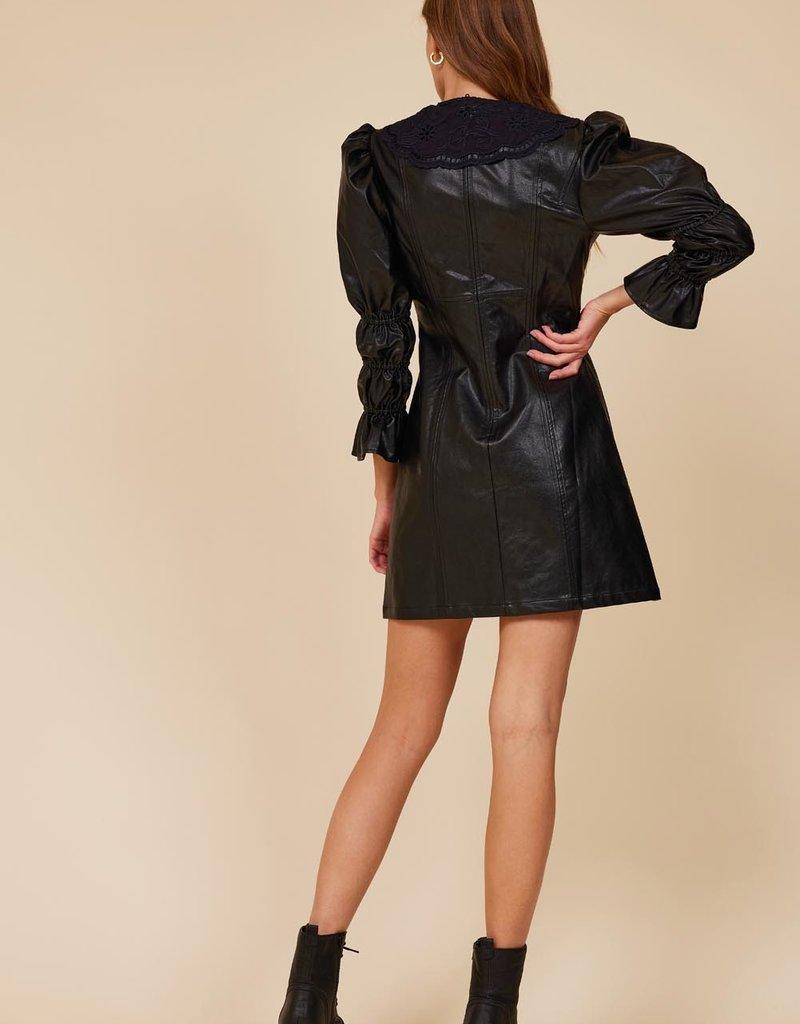 deborah faux leather dress