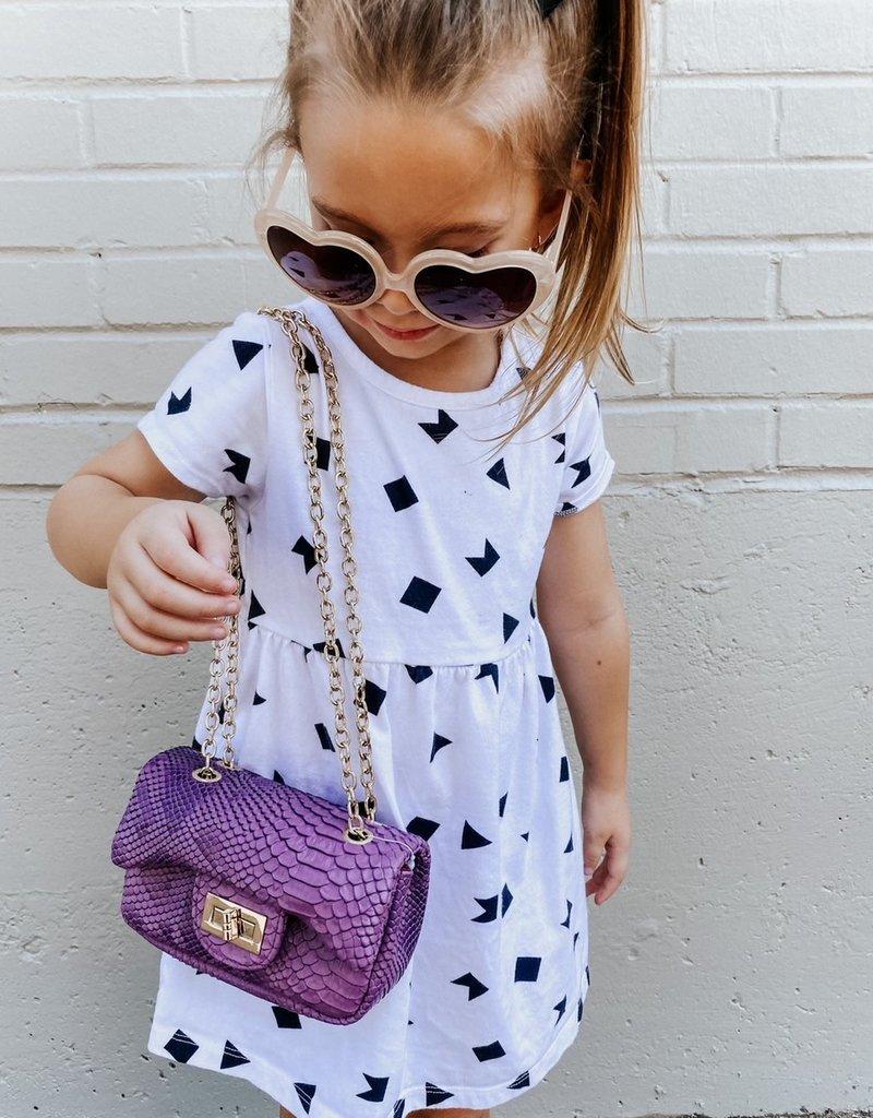 posh international kids purple printed bag