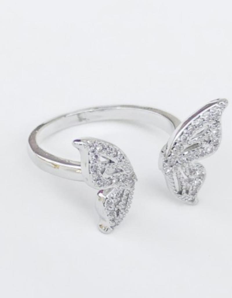omg blings split butterfly ring - silver