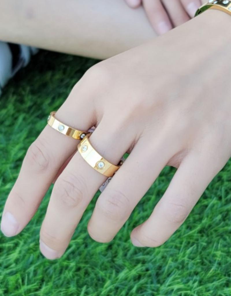 omg blings studded ring - gold
