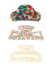 acrylic hair clip set of 3
