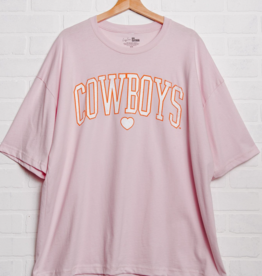 LivyLu cowboys distressed heart boxy tee - one size pink
