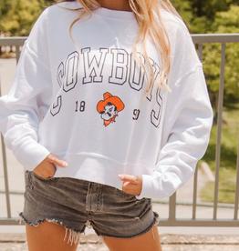 LivyLu cowboys preppy corded crop sweatshirt