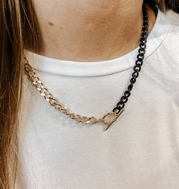 omg blings half & half enamel gold curb chain necklace