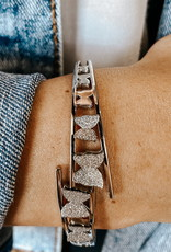 omg blings sanded butterfly bracelet - silver