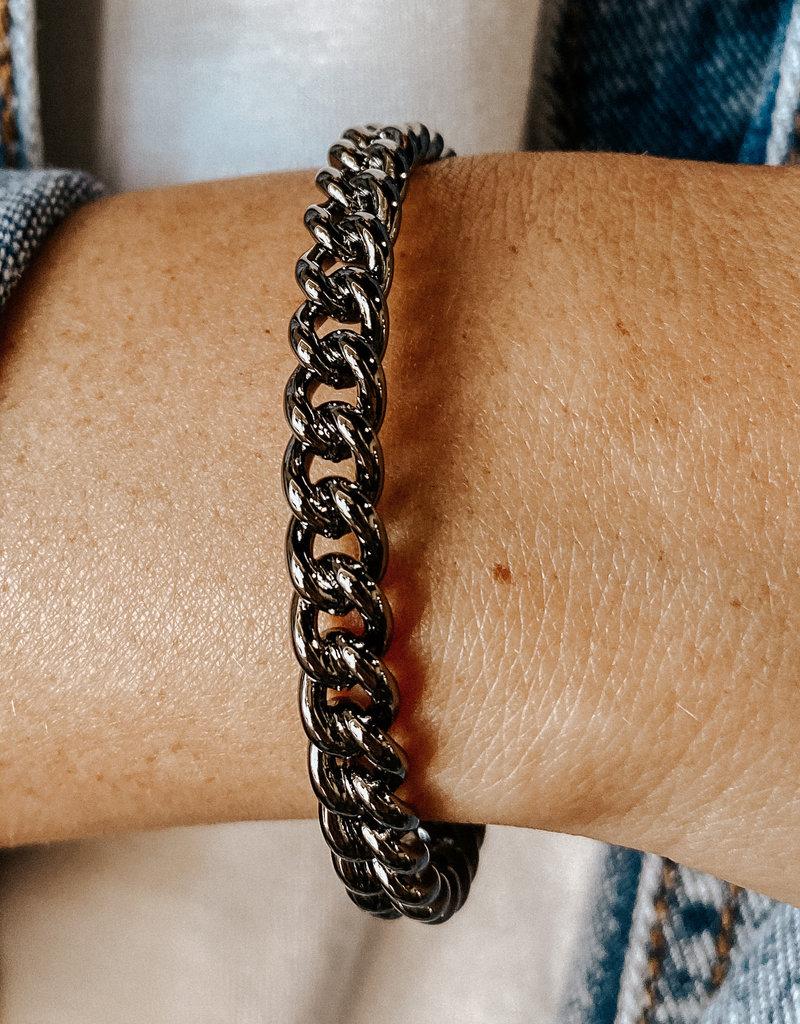 omg blings thin curb chain bangle - gunmetal