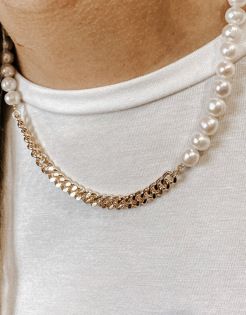 omg blings half & half gold pearl necklace