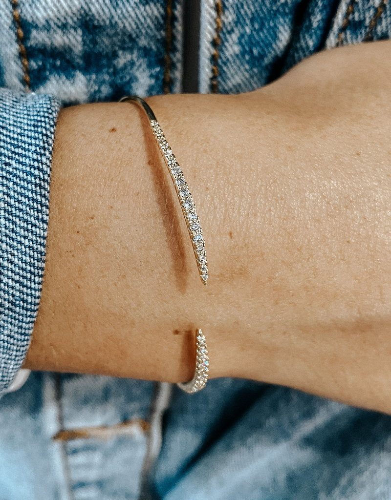 omg blings pave bling cuff - gold